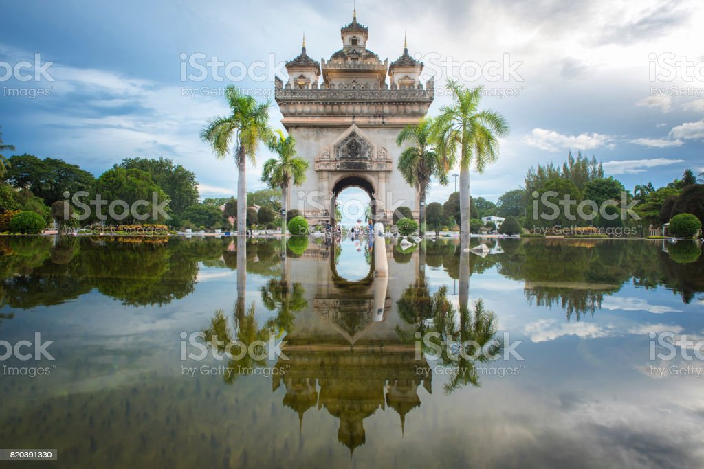 Patuxay Monument decorate with the light at Vientiane, Laos. stock photo