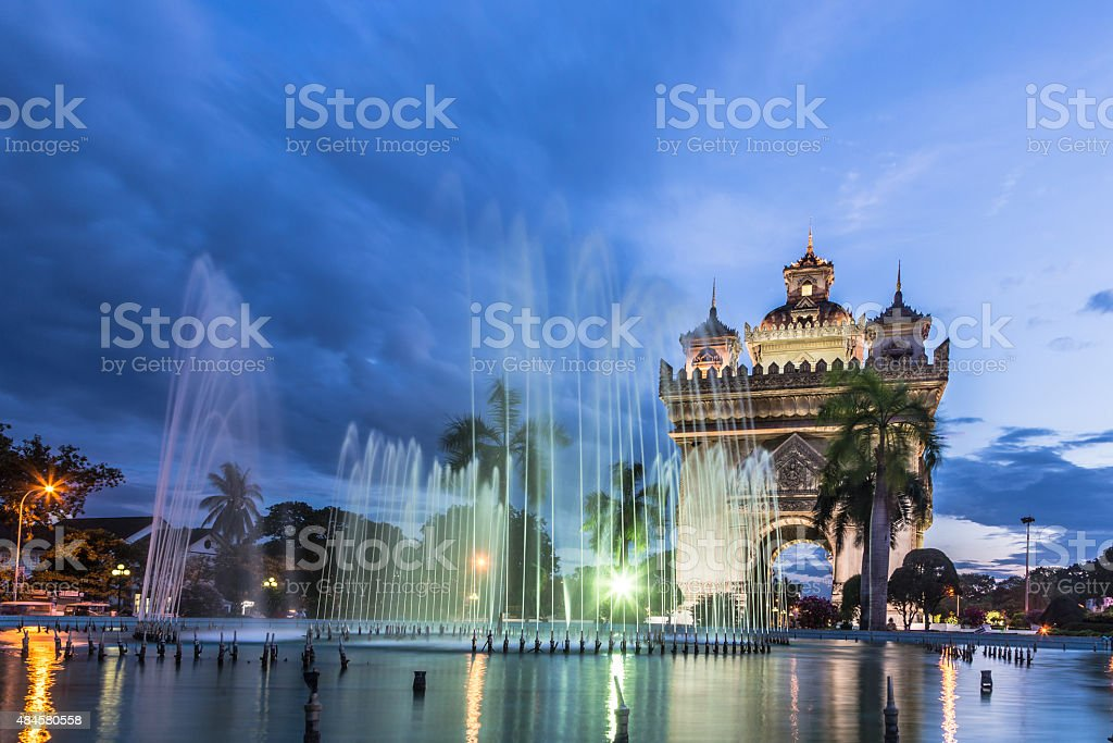 Patuxay monument in Vientiane in Laos stock photo