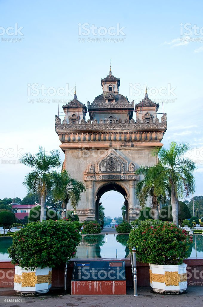 Patuxay Monument, Vientiane, Laos stock photo