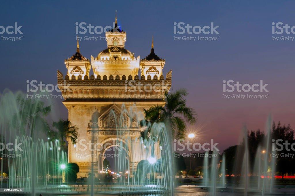 Patuxay or Patuxai Victory Monument, architectural landmark of Vientiane, capital city of Laos stock photo