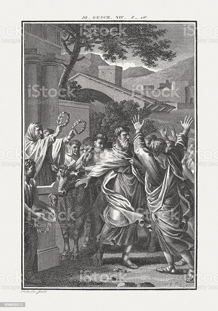 Paul and Barnabas reputed as Gods (Acts 14), published c.1850 stock photo