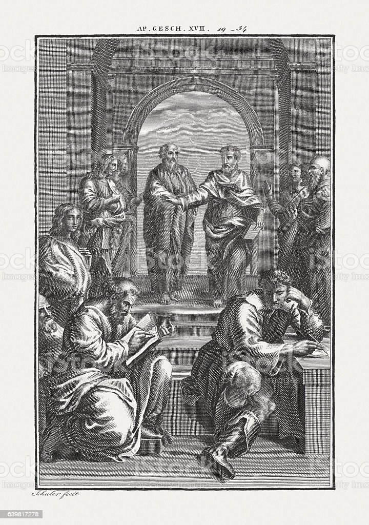 Paul at Athens (Acts 17), copper engraving, published c. 1850 stock photo