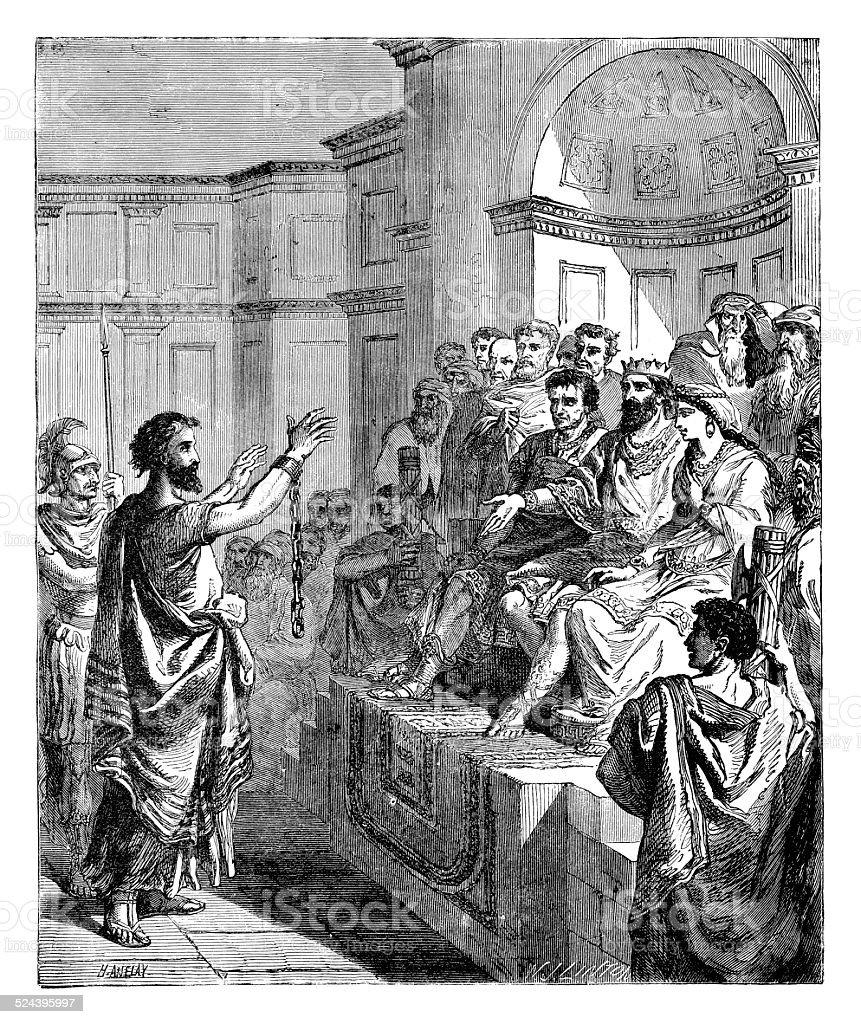 Paul before King Agrippa stock photo