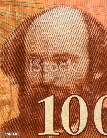 Paul Cezanne (1839AaAa1906) on 100 Francs 1997 Banknote from France. Influential French artist and Post-Impressionist painter. Less than 30% of the banknote is visible.
