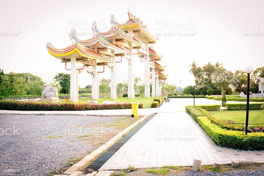 Paul keng Teng shrine in Nakhon Chaisi Thailand stock photo
