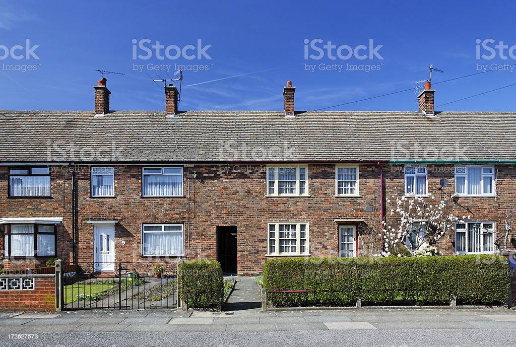 Paul McCartney's Childhood Home, Forthlin Road, Liverpool-John Lennon's below stock photo