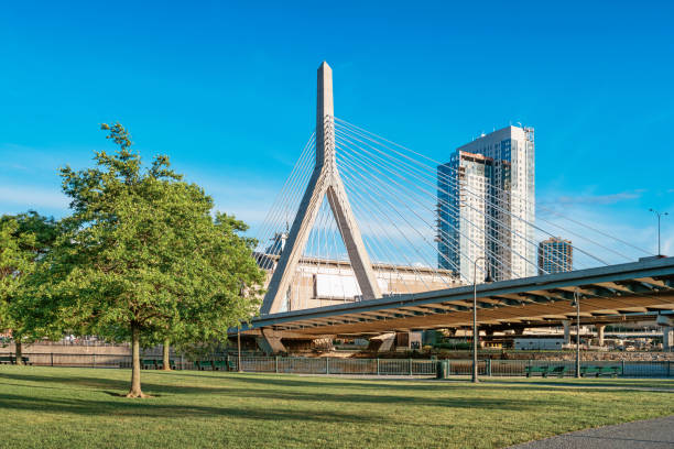 Paul Revere Park and Bunker Hill Bridge in Boston Massachusetts USA stock photo