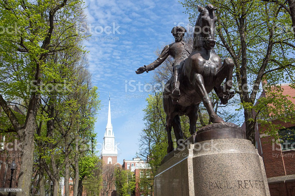 Paul Revere's monument, Boston, Ma stock photo
