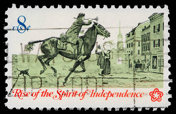 Paul Revere's Ride, 1775,  Commemorated  on American Vintage Postage Stamp Paul Revere's Ride, 1775,  Commemorated  on American Vintage Postage Stamp. Paul Revere ,1735 to 1818, was an American silversmith and a patriot in the American Revolution. His famous ride was symbolic of the Rise of the Spirit of Independance in 1775. war effort stock pictures, royalty-free photos & images
