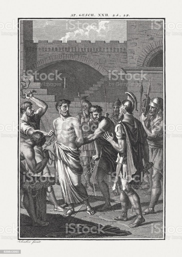 Paul the Roman Citizen (Acts 22), copper engraving, published c.1850 stock photo