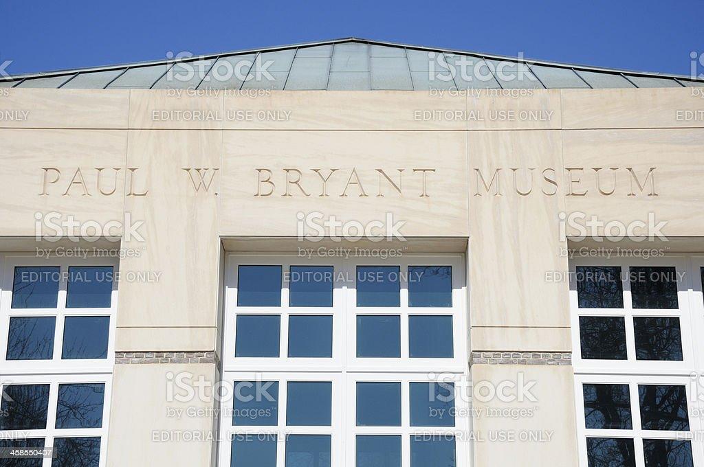 Paul W. Bryant Museum Sign stock photo