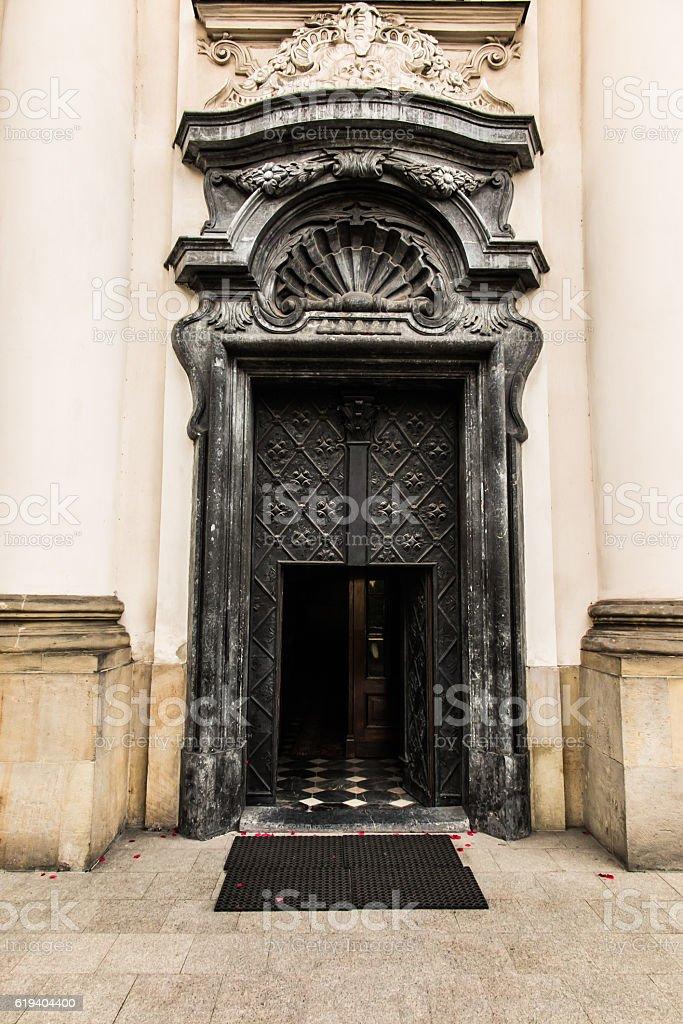 Pauline Church on the Rock in Krakow,  door. stock photo
