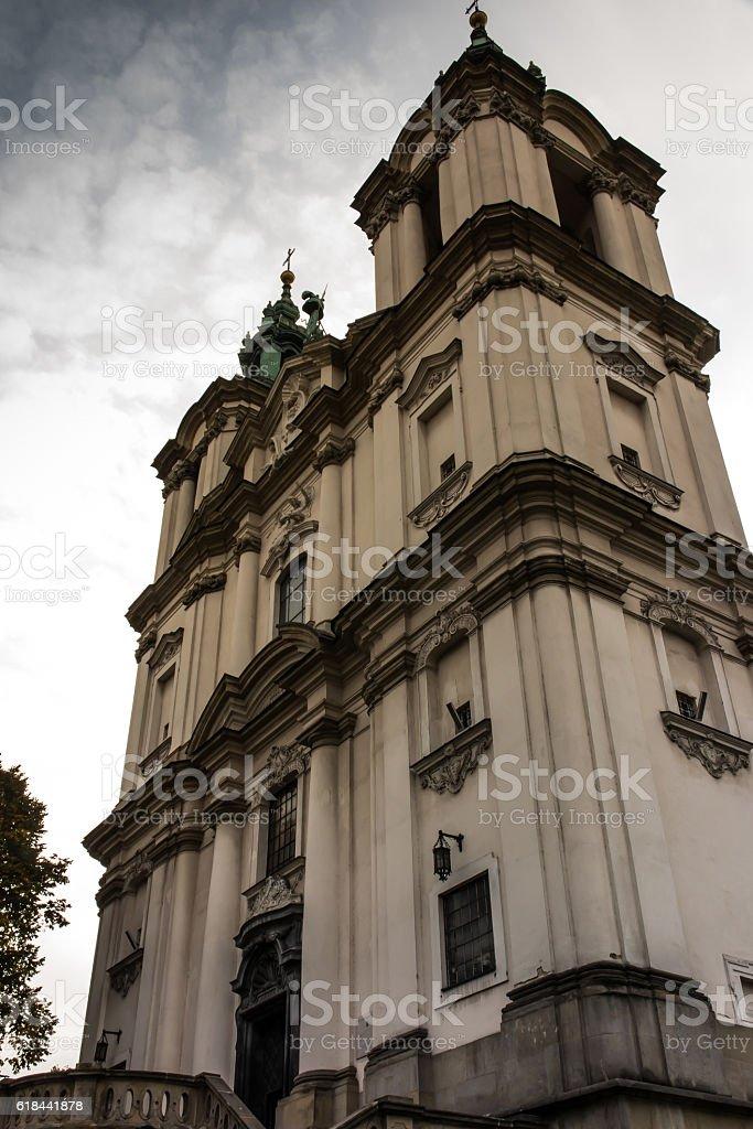 Pauline Church on the Rock in Krakow, Poland, Baroque style stock photo