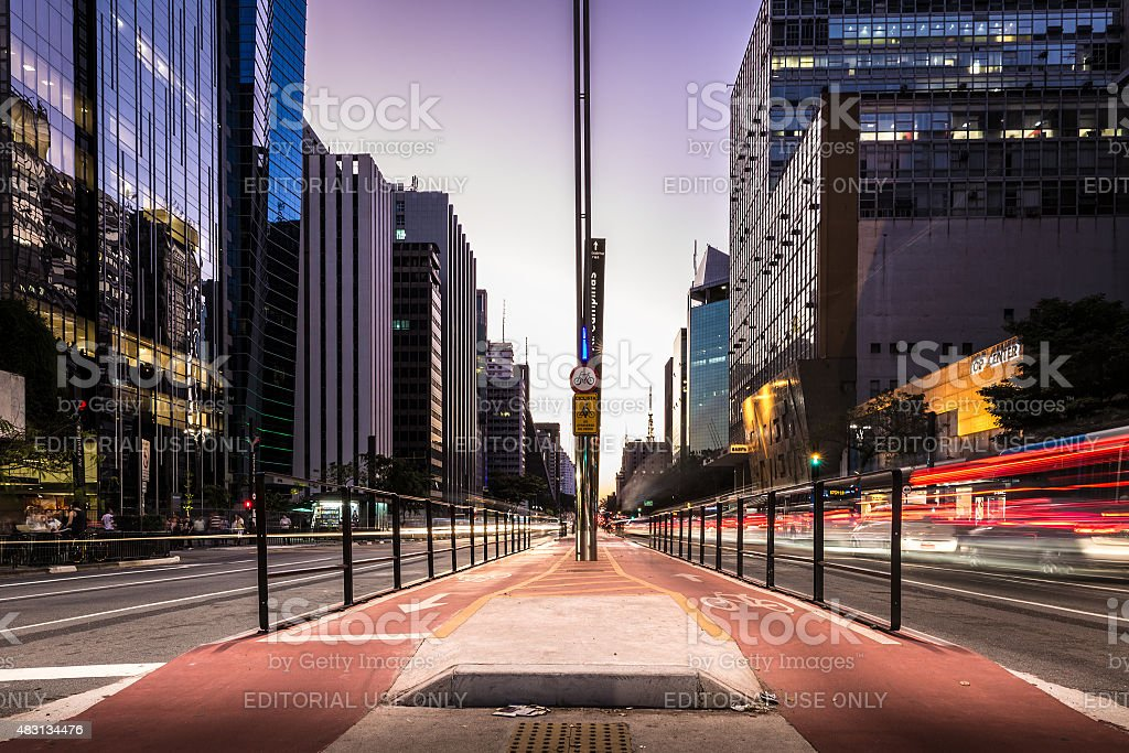Paulista Avenue at night in Sao Paulo, Brazil stock photo