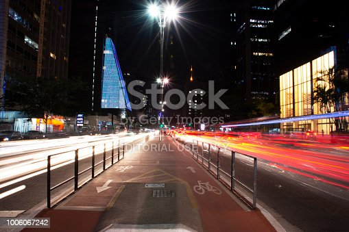 Sao Paulo, Brazil - July 19, 2018 - Images of Avenida Paulista, in the city of São Paulo, Brazil. Photographs made of nite using Light Paint technique.