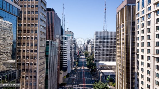 Paulista Avenue in Sao Paulo during COVID 19 quarantine