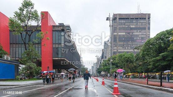 Sao Paulo city, Sao Paulo state, Brazil - October 22/ 2018:The Paulista avenue is the financial center of Brazil