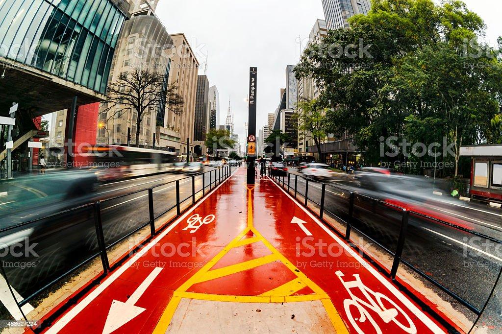 Paulista Avenue under a drizzle. stock photo