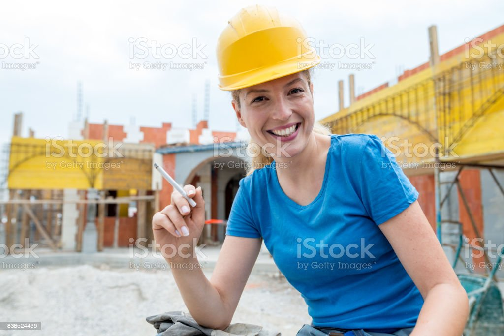 A pause at the workplace for a cigarette stock photo