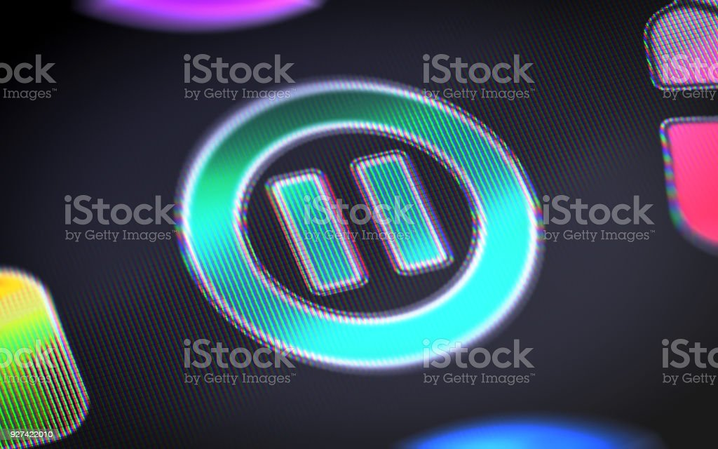 Pause Icon On The Screen Stock Photo & More Pictures of