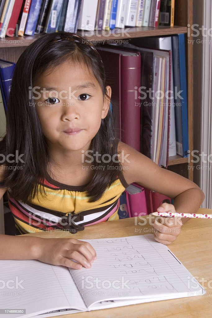 Pausing from homework (part of series) royalty-free stock photo