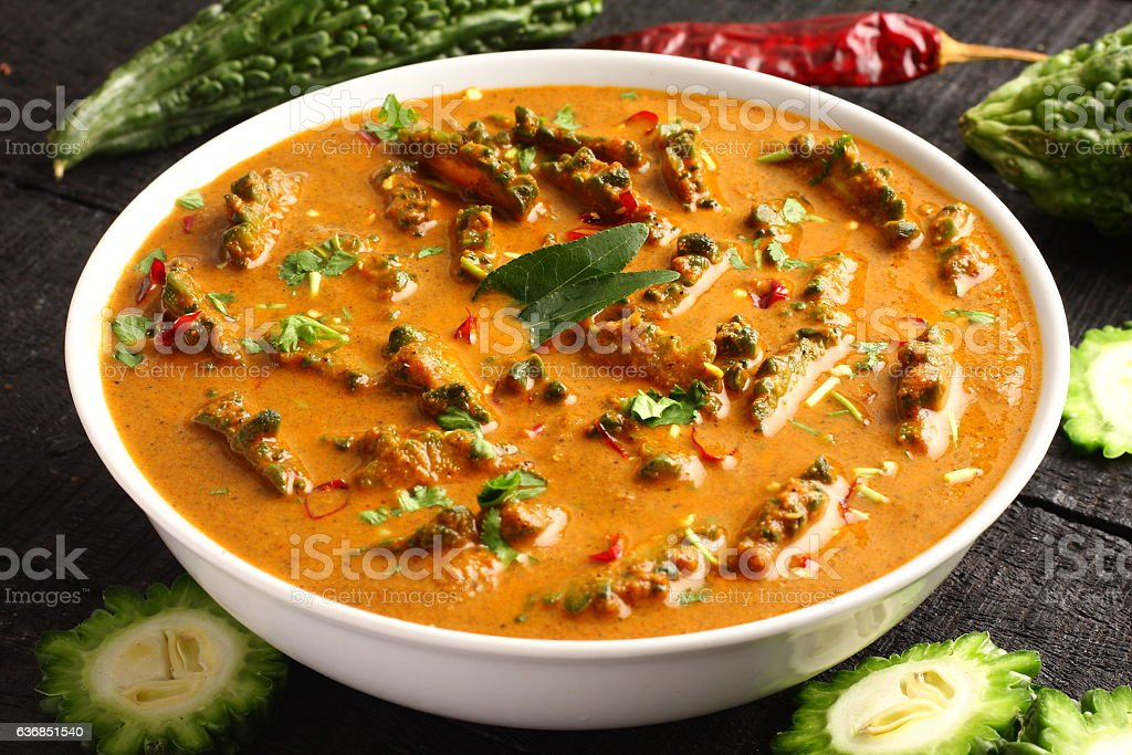 Pavakka theeyal-Traditional Kerala curry dish stock photo