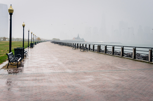 Paved Path under Heavy Rain