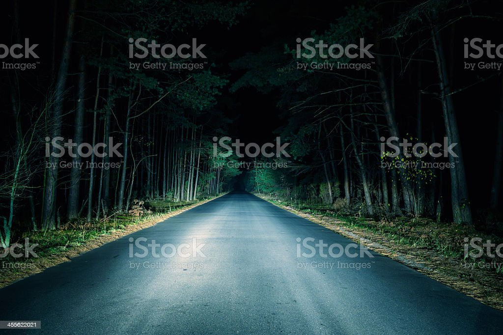 Paved road going through woods at night stock photo