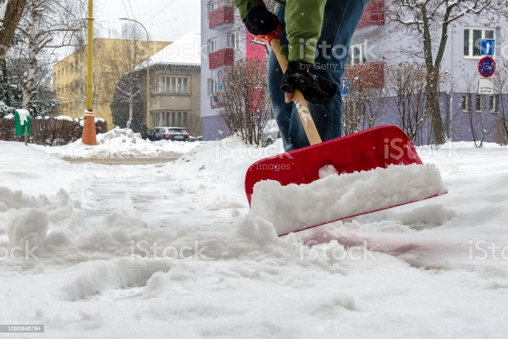 Pavement cleaning from snow stock photo