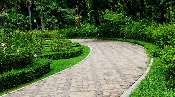 Pavement made of stone in beautiful garden stock photo