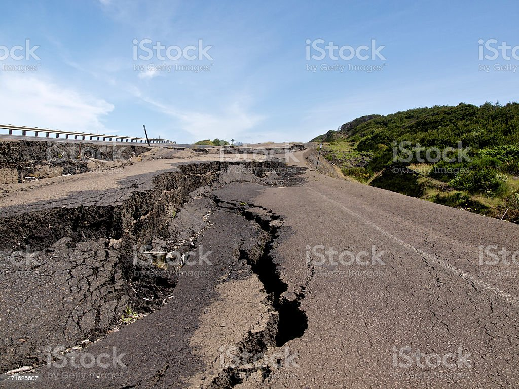 Pavement Road Damage Collapse due to heavy Rain Oregon Highway stock photo