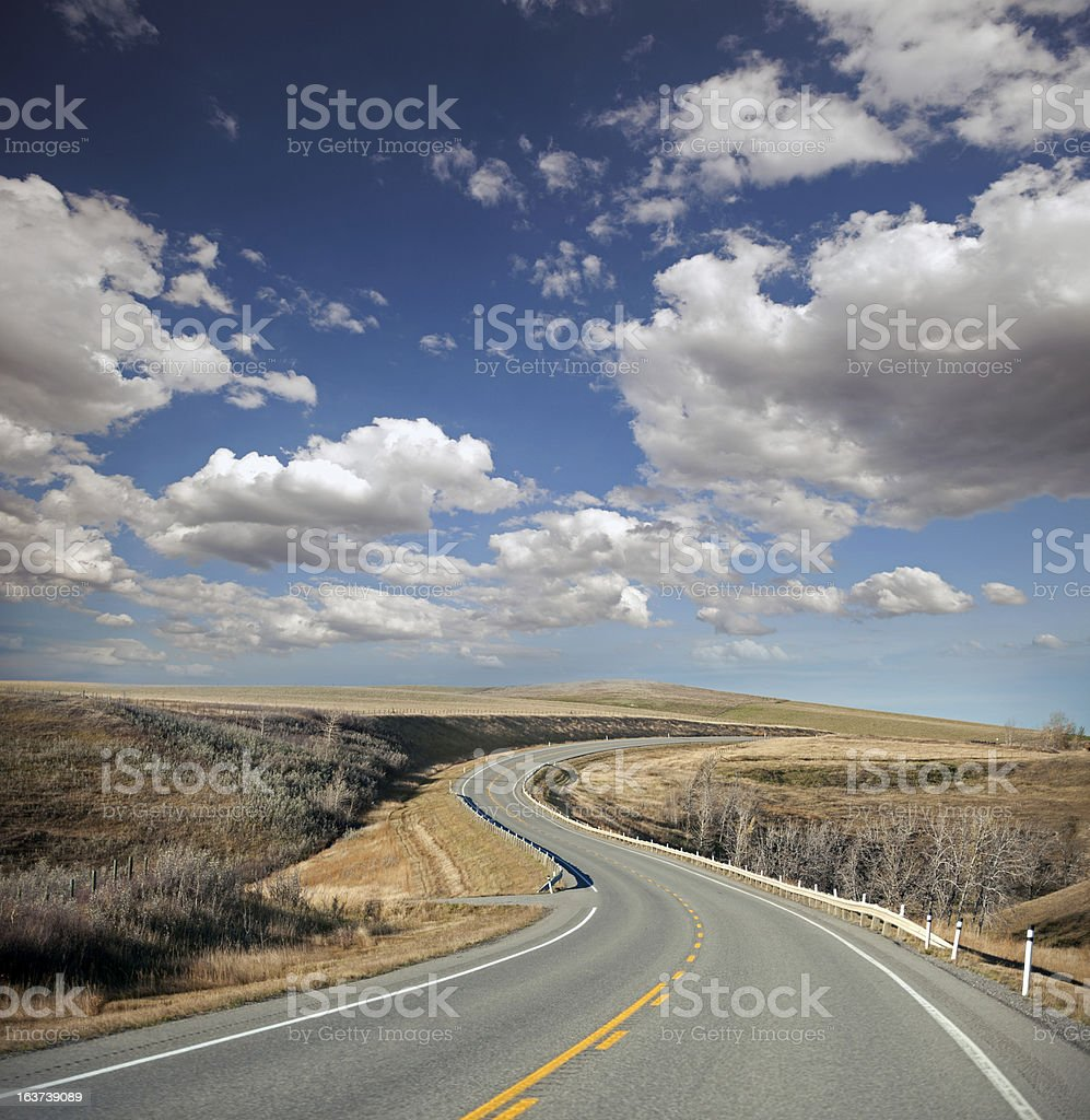 Pavement road with curves royalty-free stock photo