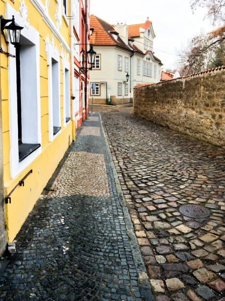 Pavements in Prague stock photo