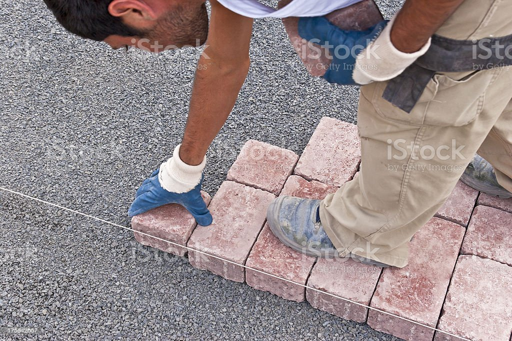 Paver at work stock photo