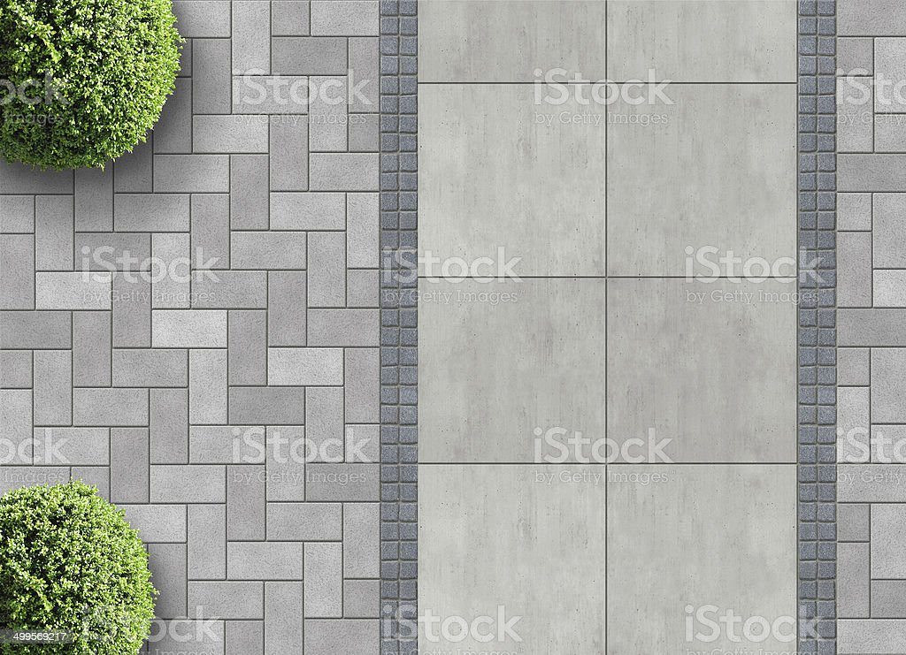 paver bricks from above stock photo