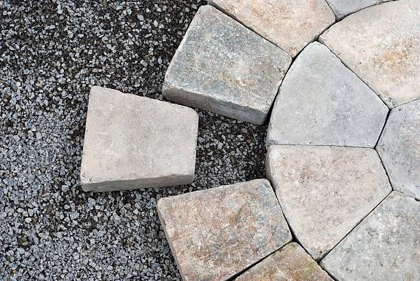 Pavers in a circular pattern stock photo