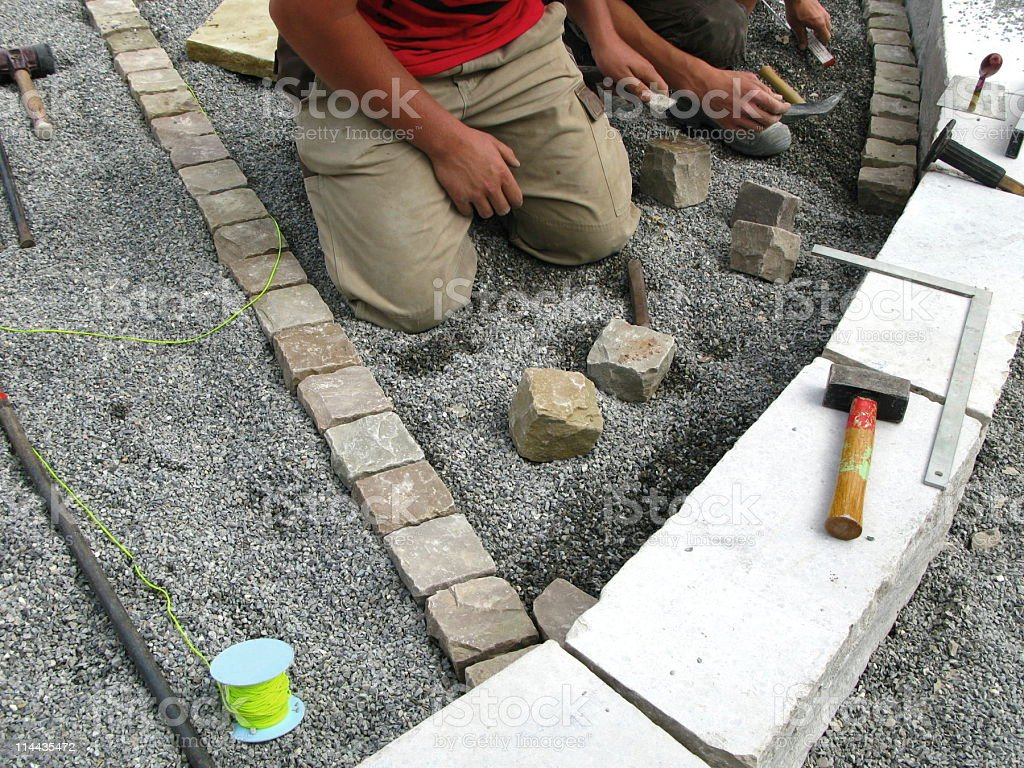 Pavers will be relaid royalty-free stock photo