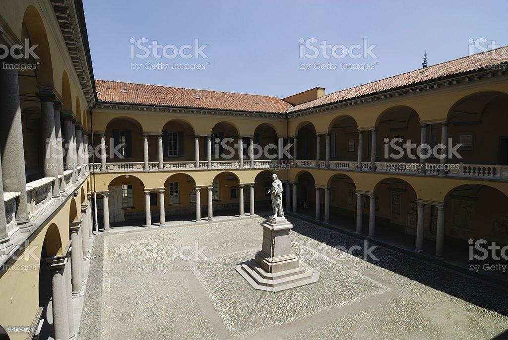 Pavia (Italy) - Cloister of the University Palace royalty-free stock photo