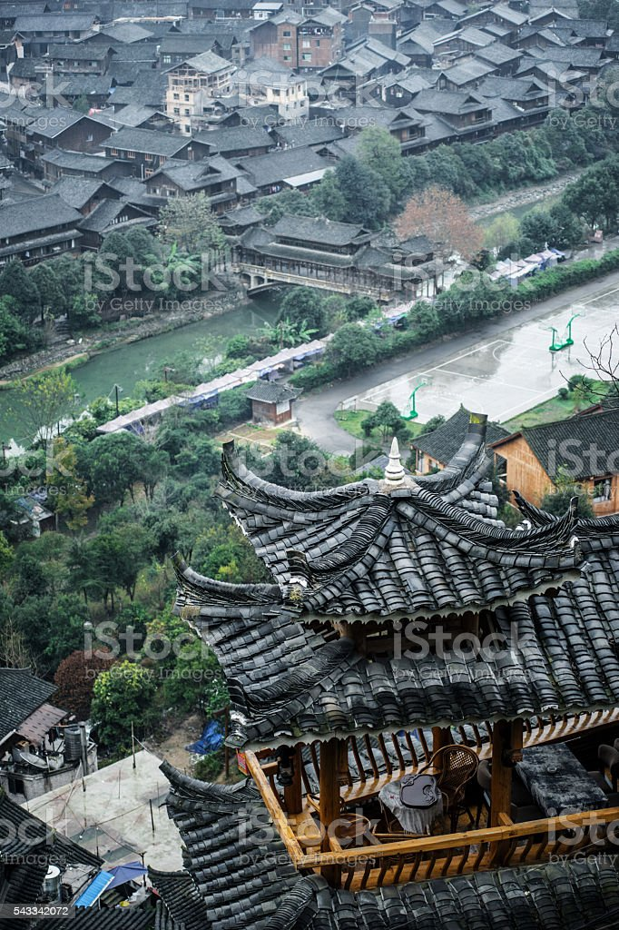 pavilion and the Miao village in Guizhou Province stock photo