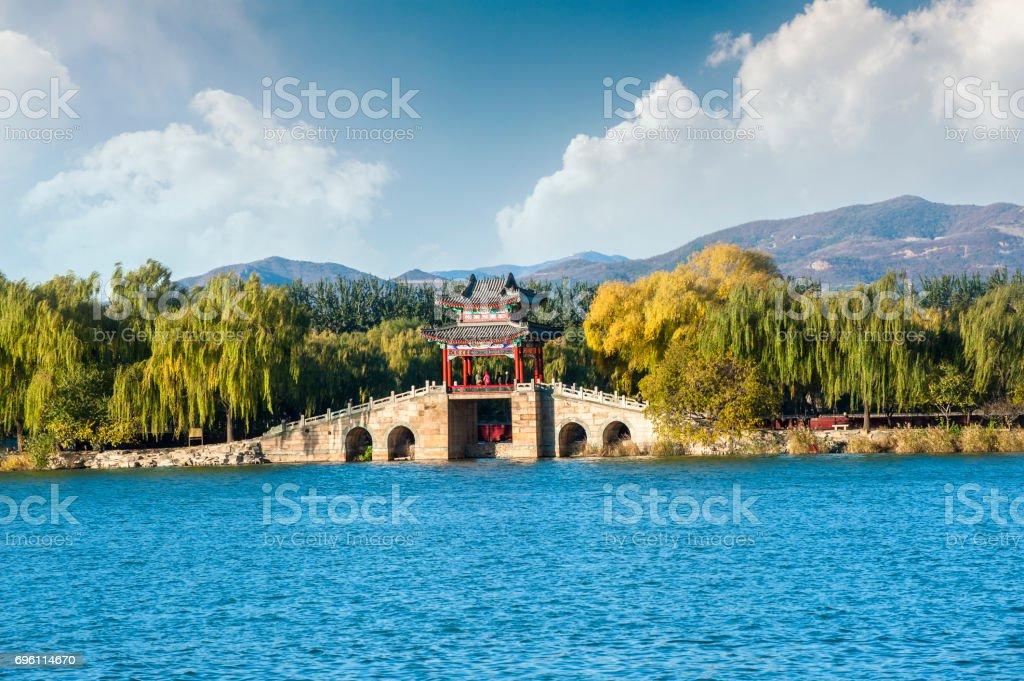 Pavilion bridge of Summer Palace stock photo