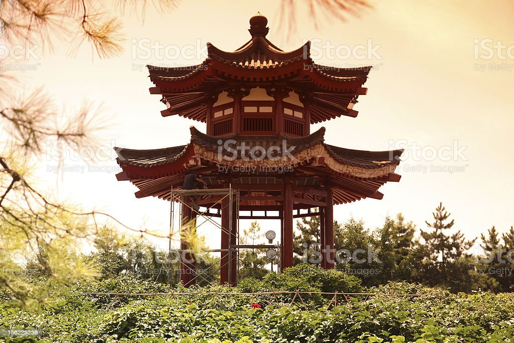 pavilion house at Giant Wild Goose Pagoda, China, Xian stock photo