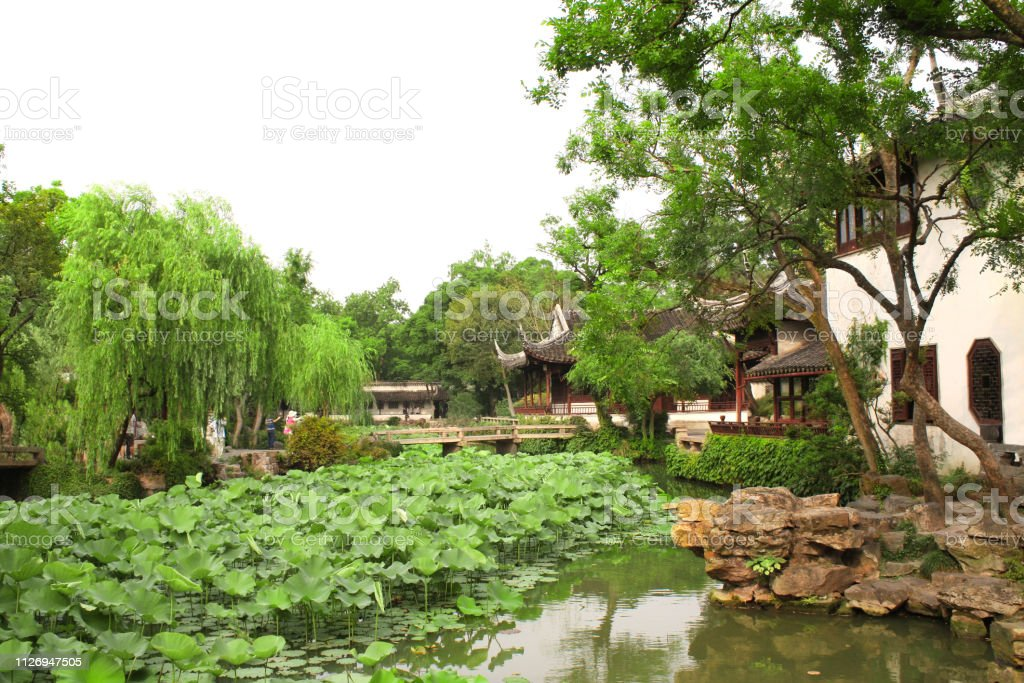 Pavilion In Humble Administrators Garden In Suzhou China Stock