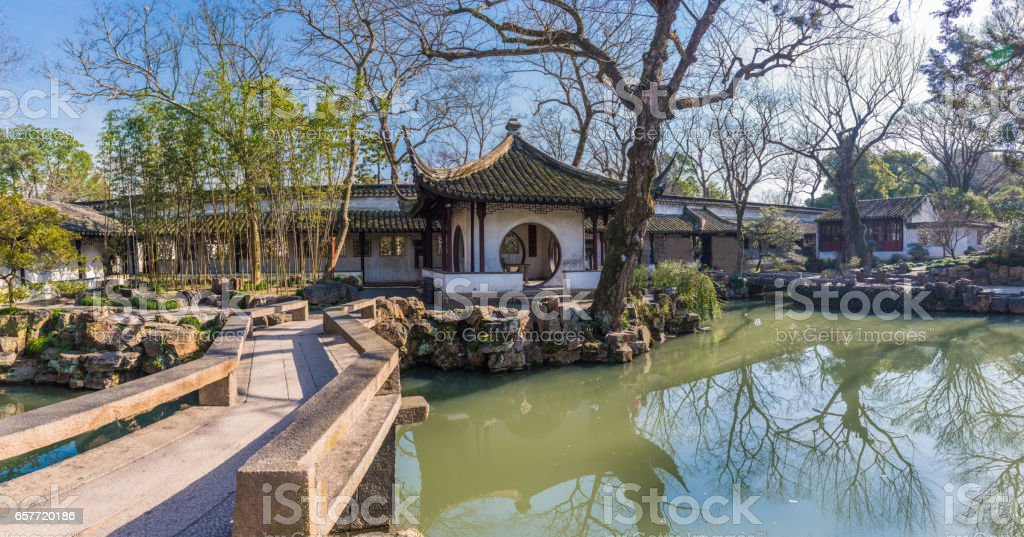 Pavilion in Humble Administrator's Garden in Suzhou, China stock photo