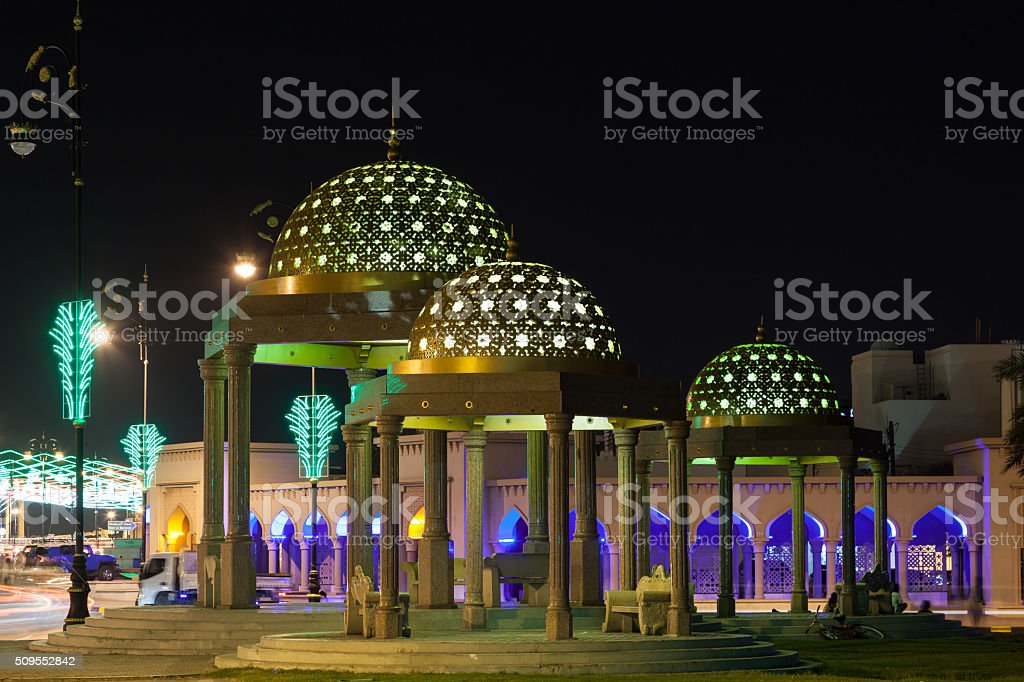 Pavilion in Muscat at night, Oman stock photo