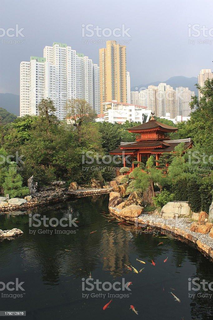 Pavilion in Nan Lian Garden, Hong Kong. stock photo