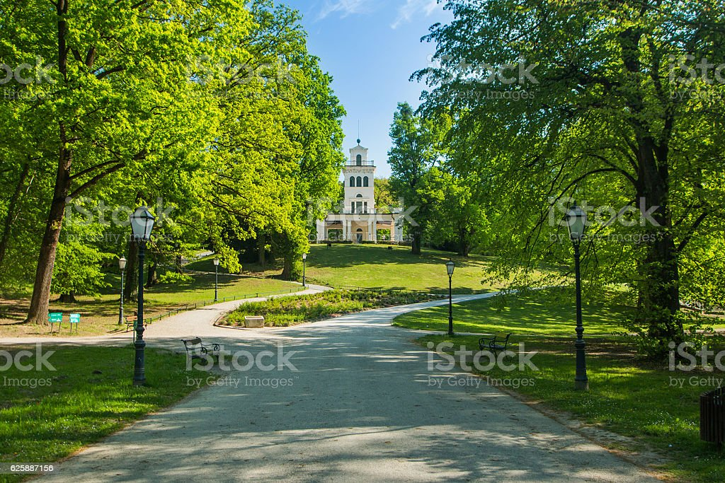 Pavilion in park Maksimir in Zagreb, Croatia stock photo