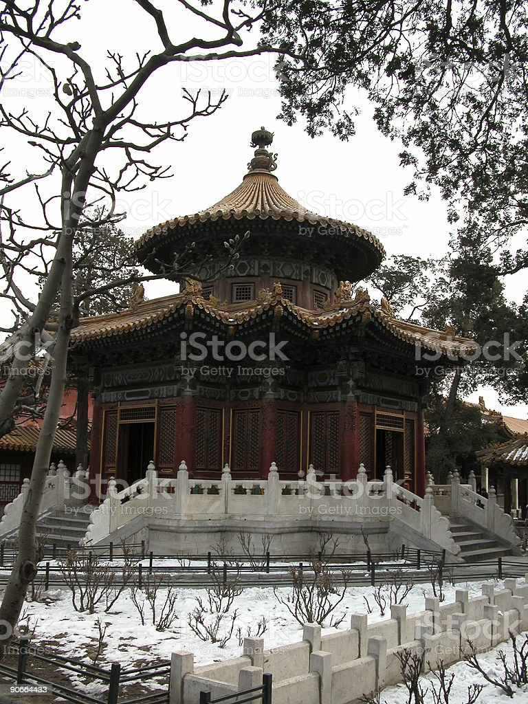 Pavilion in the Snow, Forbidden City, Beijing royalty-free stock photo