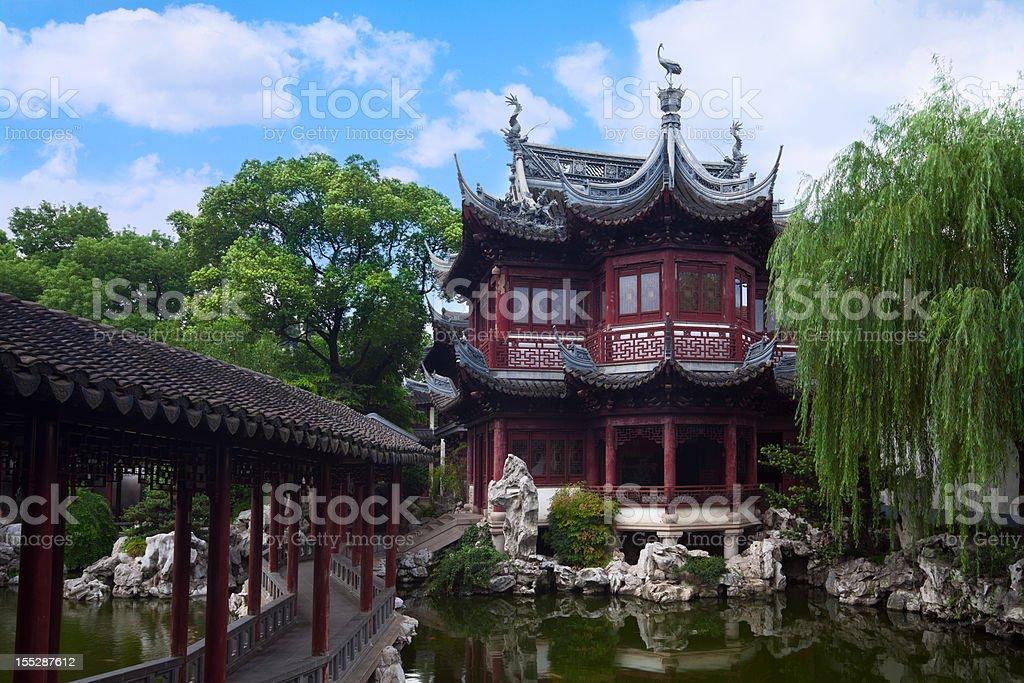 Pavilion in Yu Yuan gardens stock photo