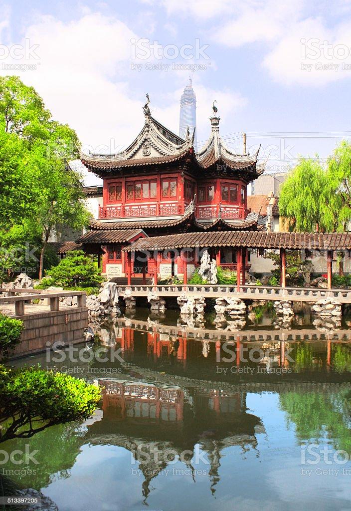 Pavilion in Yu Yuan Gardens, Shanghai, China stock photo