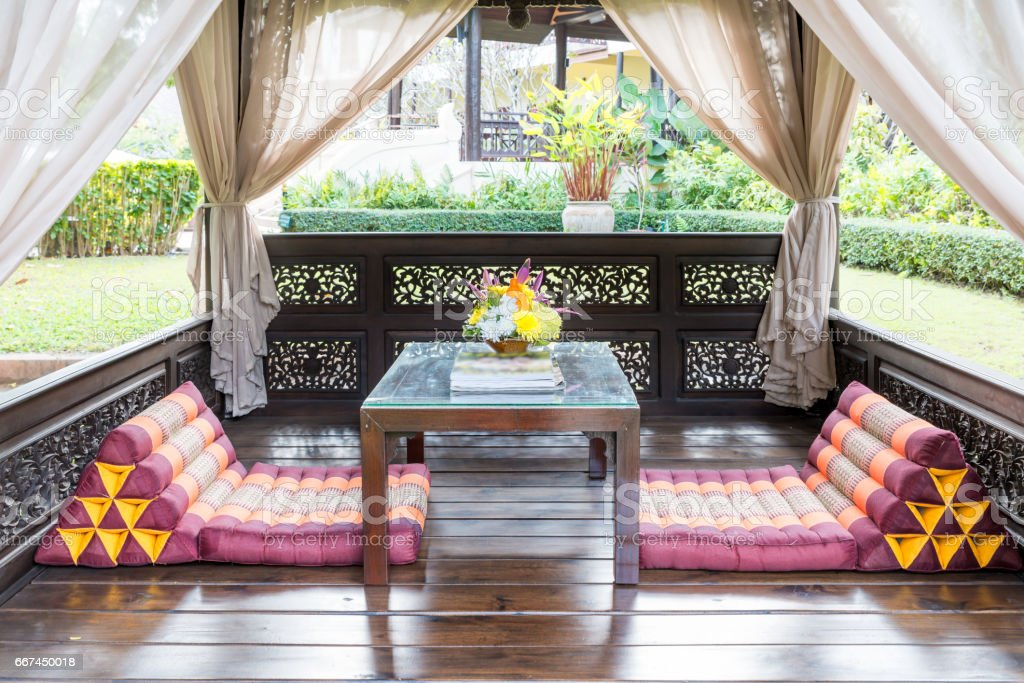 Pavilion lounge in garden at tropical resort for rest and massage. stock photo